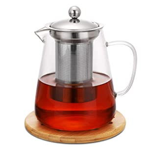 Hiware Glass Teapot with Removable Infuser set - Tea Kettle, Tea Strainer, Loose Leaf Tea Pot 32oz - Stovetop Safe Clear Tea Maker for Blooming, Flowering - Coaster and Sleeve for Warmer Tea