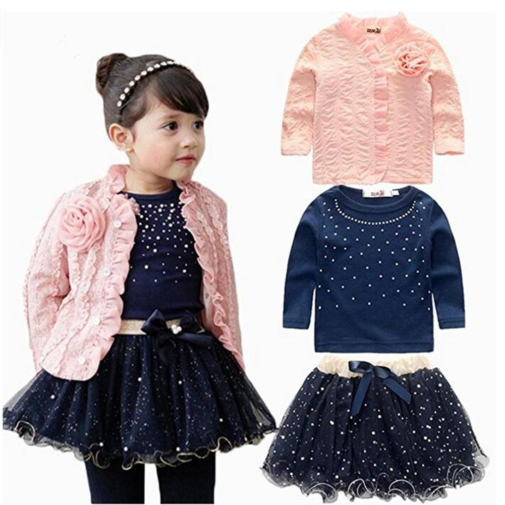 ZYZF Kid Girls Outfit Clothes Lace Coat+T-shirt+Short Princess Yarn skirt 1Set