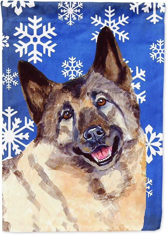 Caroline's Treasures LH9308GF Norwegian Elkhound Winter Snowflakes Holiday Flag Garden Size, Small, Multicolor