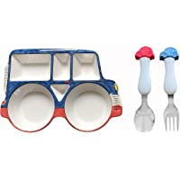 ARI MES Car Shaped Plate and Spoon & Fork Set Divided Plate BPA Free Eco-Friendly Food Level Dinnerware Toddler Child…