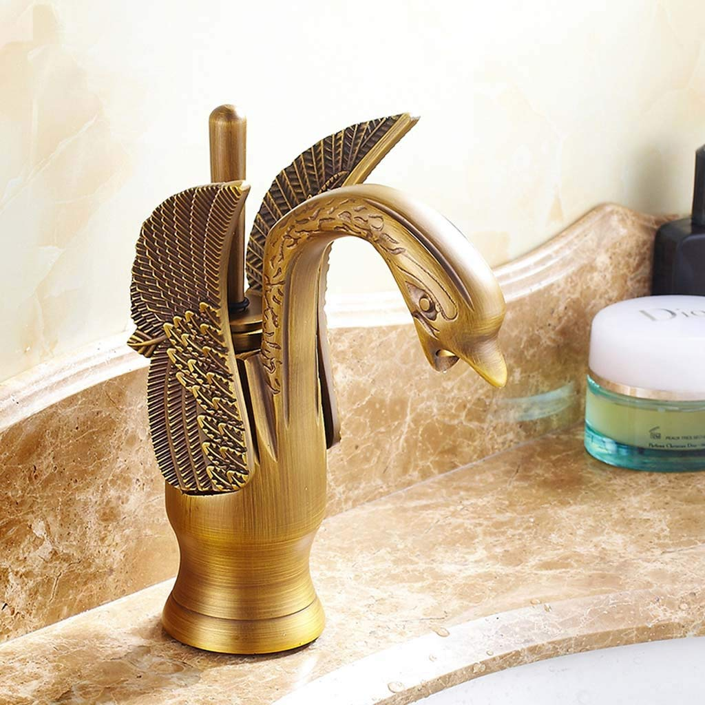 Yoert Basin Faucet swan Design Faucet Bathroom wash Basin Faucet Hotel Luxury Copper Faucet Faucet hot and Cold Water Faucet