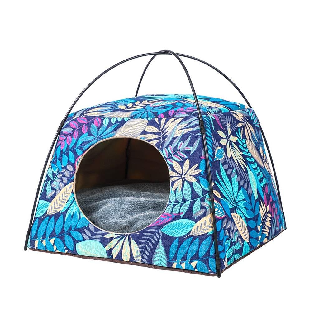 bluee M bluee M Kennel Cat Litter Cat House Sofa House Dual-use Deformation Pet Nest 4 Season Washable Pet Tent Two colors Optional (color   bluee, Size   M)