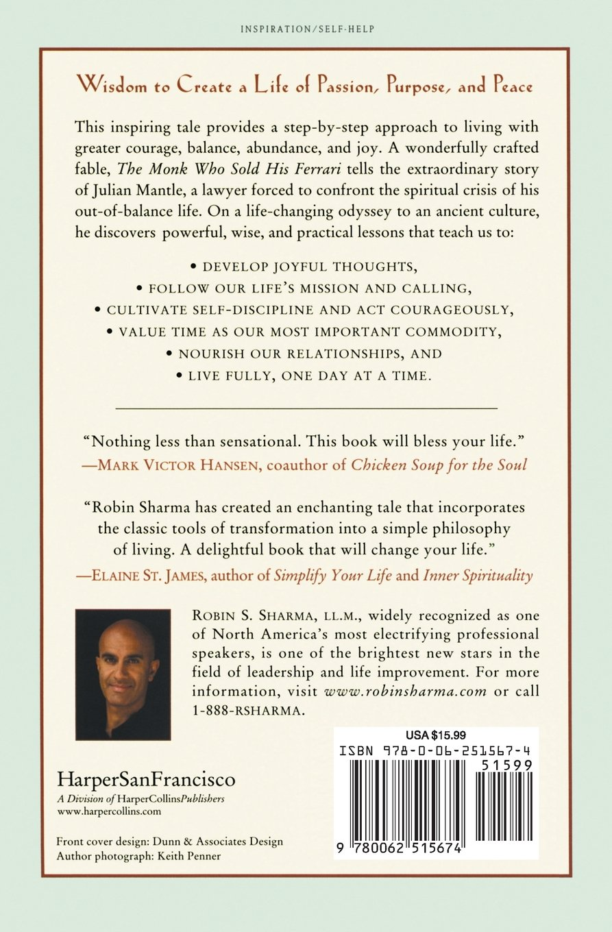 The monk who sold his ferrari a fable about fulfilling your dreams the monk who sold his ferrari a fable about fulfilling your dreams reaching your destiny robin sharma 9780062515674 amazon books fandeluxe Image collections