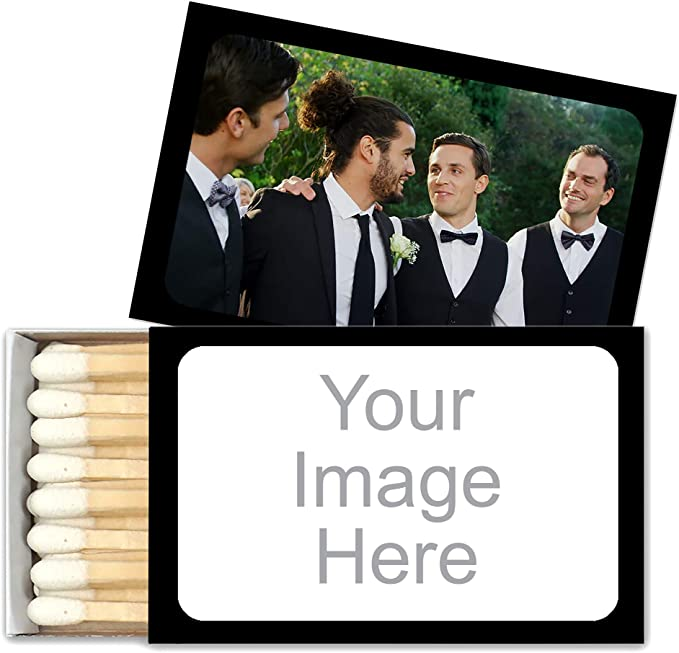 PPD-MMBB29 Chalkboard Effect Wedding Matchbox - Assembly Required 50 pcs The Perfect Match Personalized Matchbox with Stickers