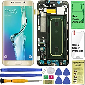 Display Touch Screen (AMOLED) Digitizer Assembly with Frame for Samsung Galaxy S6 Edge Plus (5.7 inch) G928T (T-Mobile) (for Mobile Phone Repair Part Replacement) (Repair Tool Kits) (Gold Platinum)