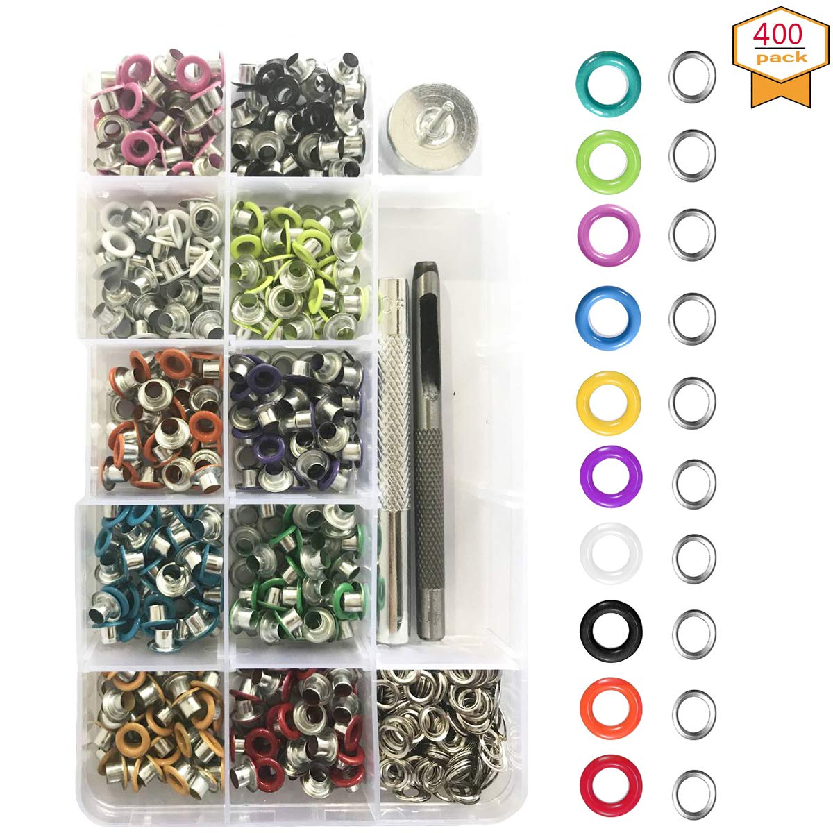Grommets Kit 1/5 inch, 400 Sets Multi-Color Grommets Kit Metal Eyelets with Installation Tools for Canvas Shoes Clothes Bags Cap Crafts by TLHOME by TLHOME