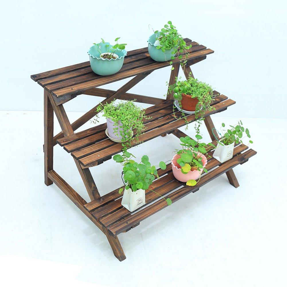 LXLA- Scaletta da esterno per fioriera Scaletta in legno massello a 3 livelli Portafiori da balcone Vetrina da esposizione rurale in metallo duro (dimensioni   96×60×61.5cm)