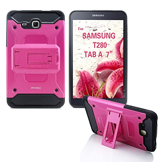 reputable site dc759 baa9b Galaxy Tab A 7.0 case [iRhino] TM Hot Pink [Heavy Duty] rugged [Dual Layer]  [Hybrid] Case With Build In Kickstand For Samsung galaxy Tab A 7.0 inch ...