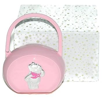 Porta Chupete y chupete rosa con Winnie the Pooh en plateado: Amazon ...