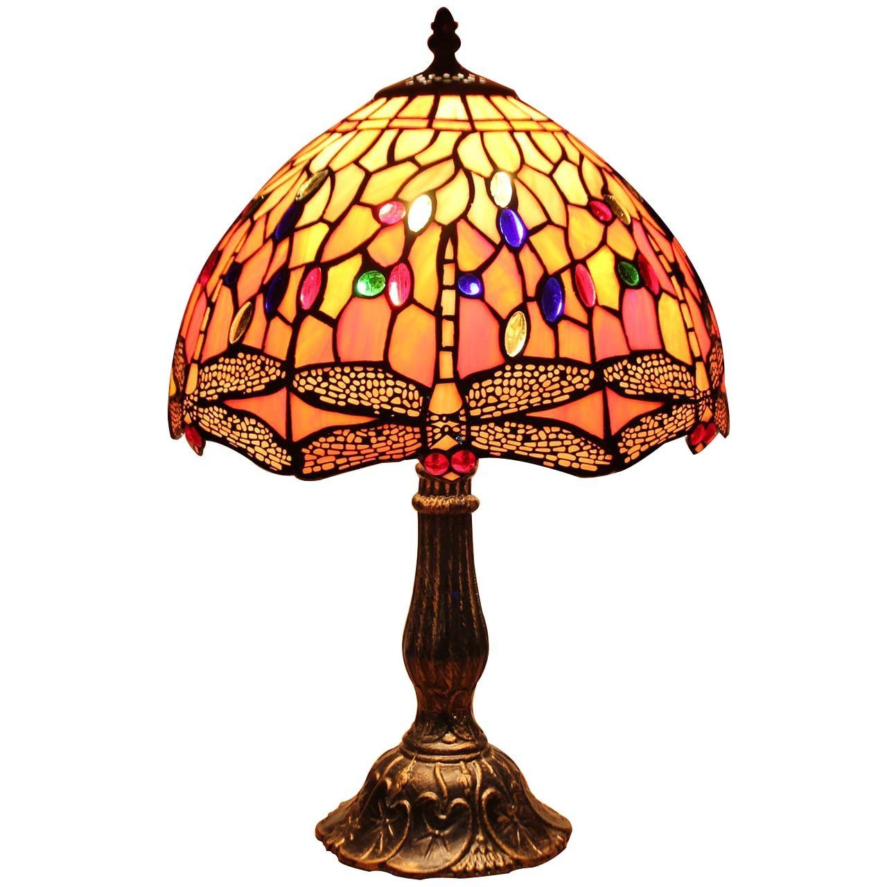 Bieye L10640 Dragonfly Tiffany Style Stained Glass Table Lamp Night Light with 12 inch Wide 6 Dragonflies Lampshade and Metal Base, Orange, 18 inch Tall