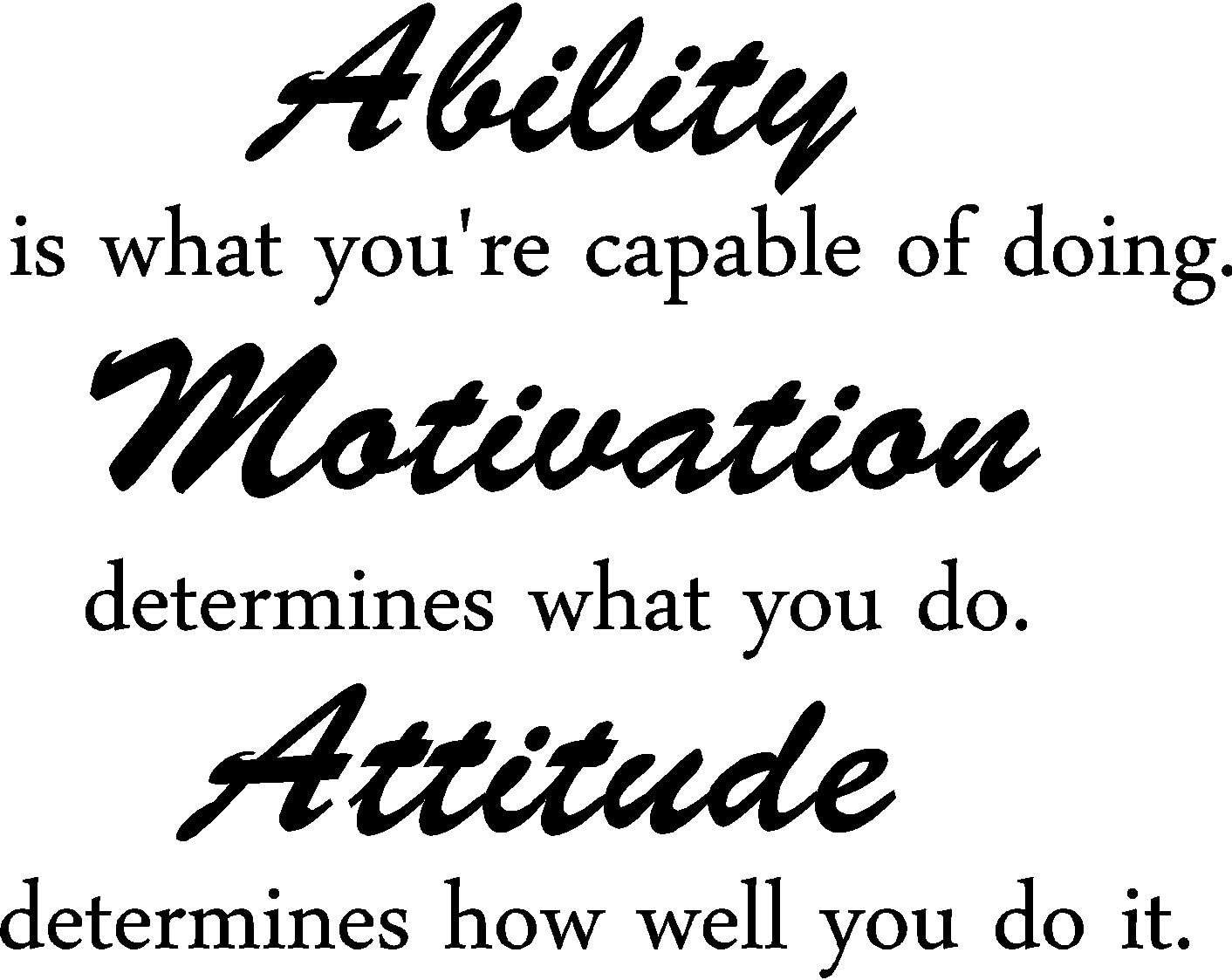 Epic Designs Ability is What You're Capable of Doing. Motivation Determines What You do. Attitude Determines How Well You do it Inspirational Wall Sayings Vinyl Decals Art