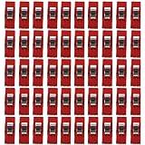 Lot de 50pcs Clips Pinces en Plastique pour Reliure Couture Artisanat Clair et Rouge (1)
