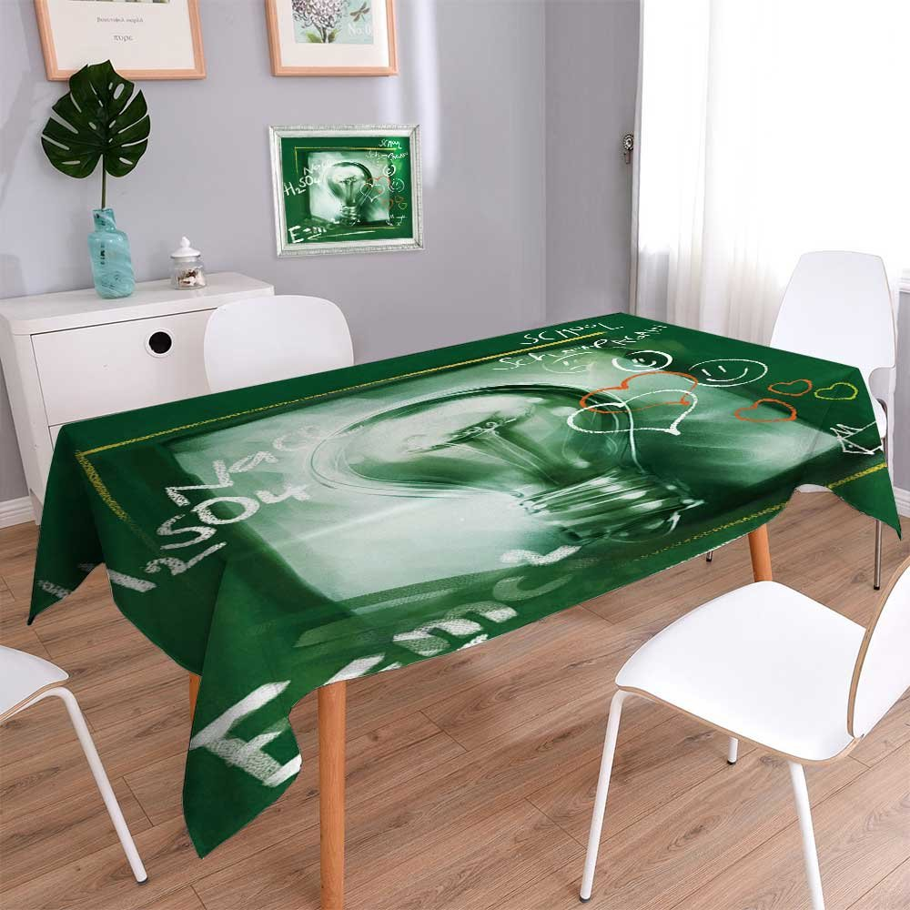 PRUNUSHOME Water Resistant Tablecloth idea concept painterly light bulb (with chalk doodles) Great for Buffet Table, Parties, Holiday Dinner, Wedding & More/54W x 72L Inch