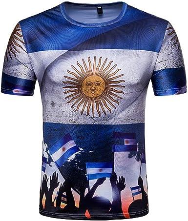 WINWINTOM Verano Casual Camisas De Hombre, Moda Ajustado Camisetas, Hombre 3D Camiseta Fútbol Impresión Manga Corta Verano Tops Blusa por Copa del Mundo (Patrón H): Amazon.es: Ropa y accesorios