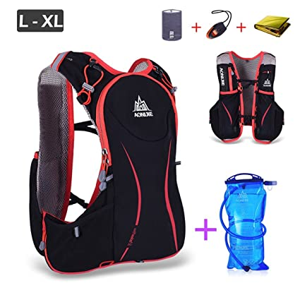 AONIJIE Hiking Hydration Backpack Lightweight Vest Pack Running Camping Bicycling+2 500ml Soft Water Bottle+