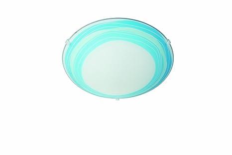Plafoniere Vetro Blu : Massive  trudy plafoniera in vetro decoro righe blu