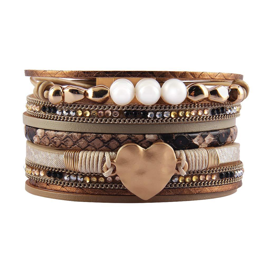 Jenia Women Leather Wrap Bracelet Rope Cuff Bracelets Charm Heart Bangle Wedding Bohemian Gift for Girls, Mother, Wife, Ladies, Lover by Jenia