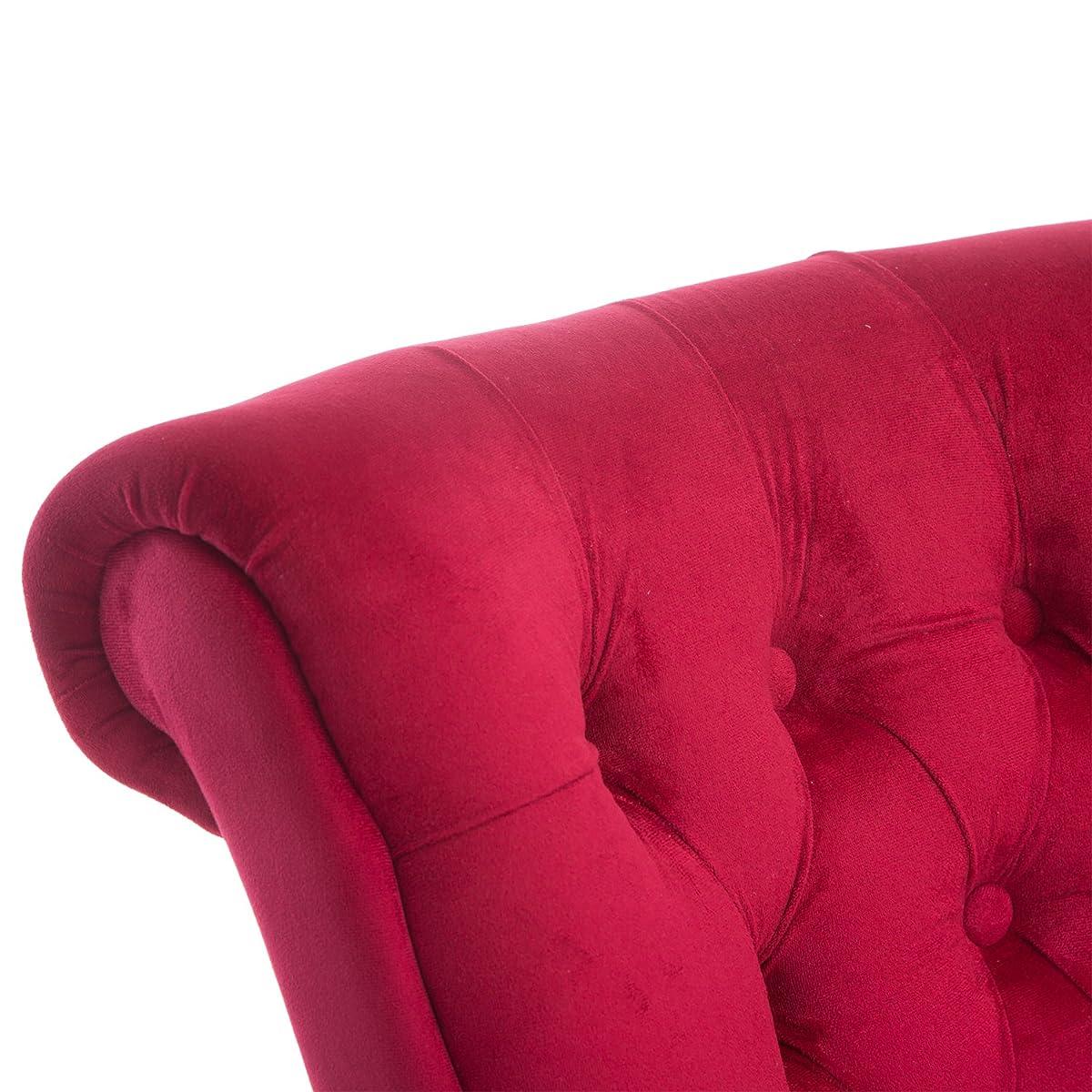 """HomCom 44"""" Tufted High Back Velvet Upholstered Accent Chair - Red"""