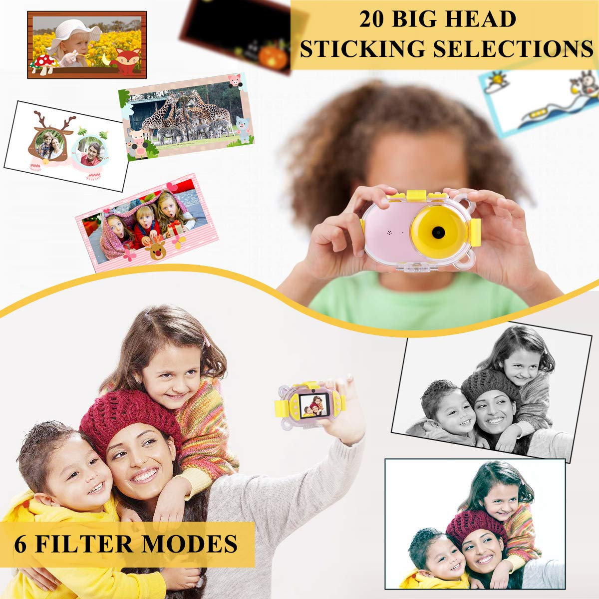 Kids Camera, OPOLEMIN Kids Waterproof Camera Kids Video Camera with Sound Playback Underwater Digital Camera Camcorderfor Kids with 16G Memory Card for Children's Day Birthday Trip Beach Swimming by OPOLEMIN (Image #4)