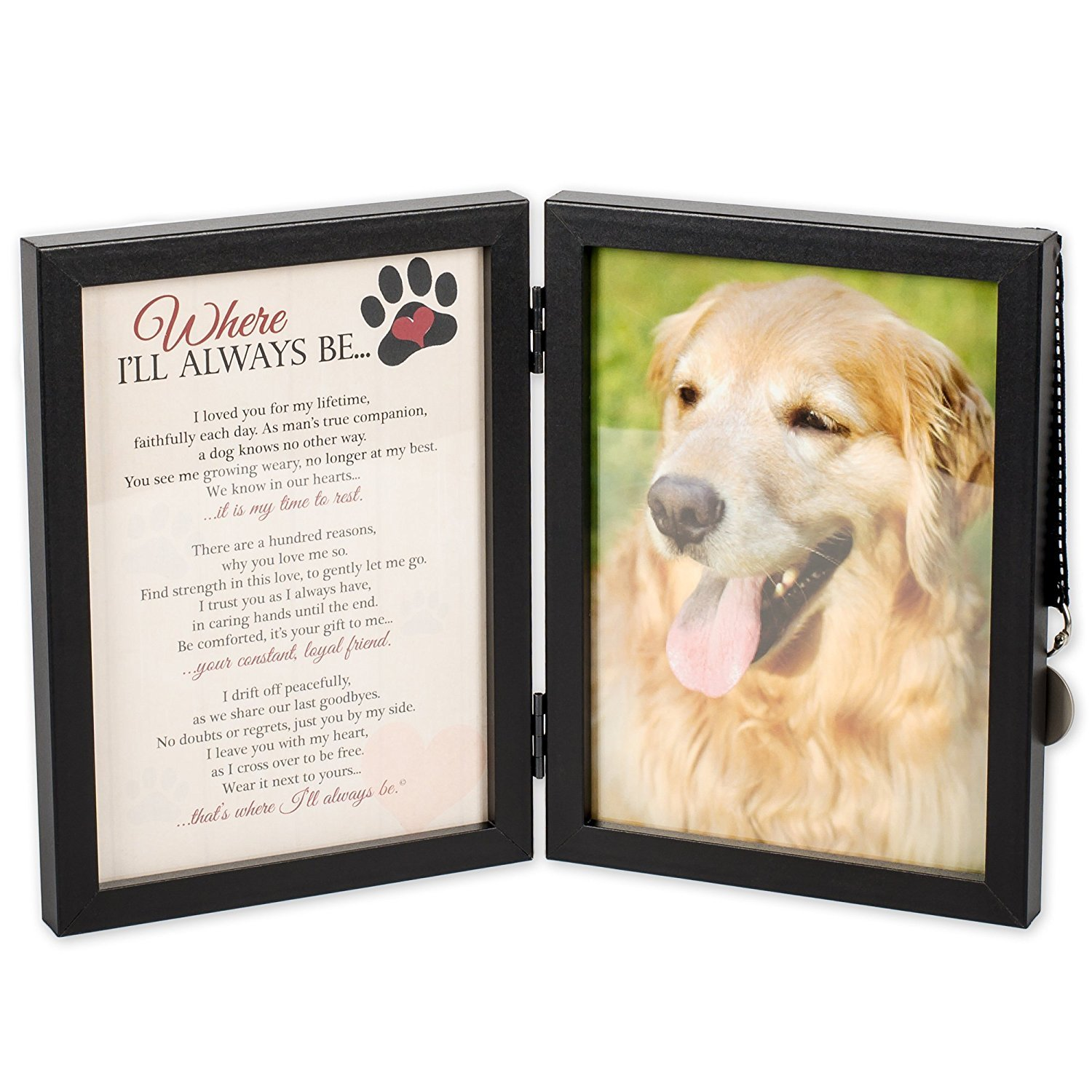 Where I'll Always Be Dog Memorial Photo Frame - Thoughtful Pet Memorial Gift (Frame with Pet Tag) by Pawprints Left by You Memorial Gifts