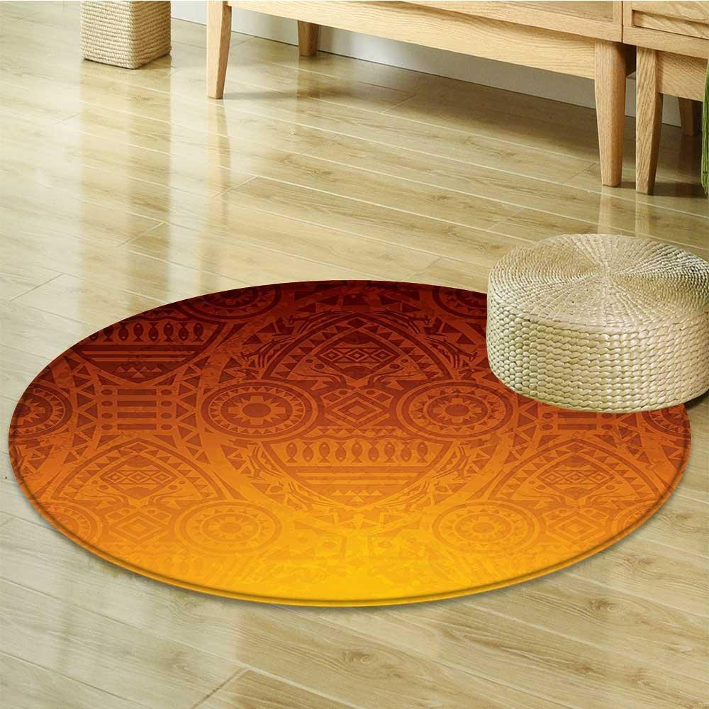 Small round rug Carpet Tribal Wall Motifs with Mask Ceremonial al Burnt Orange door mat indoors Bathroom Mats Non Slip-Round 51''