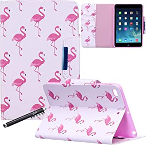 iPad Mini 1 2 3 4 Case, Newshine PU Leather Flip Stand Wallet Smart Case Cover with Auto Sleep/Wake Credit Card Slots for Apple iPad Mini 1st, 2nd, 3rd and 4th Generation - Red Flamingo