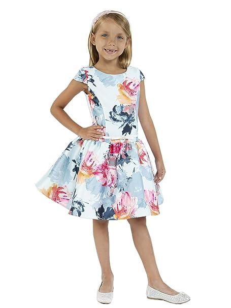 08b9d093f44d24 Kids Dream Big Girls Baby Blue Floral Print Mikado Junior Bridesmaid Dress 8