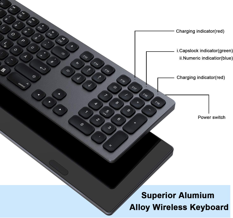 Bluetooth Keyboard, JOYEKY Multi-Device Bluetooth Keyboard, Oplaadbaar Aluminium Draadloos Toetsenbord met Numerieke Keypads, Ultra Slim Mac Toetsenbord voor MacOS iOS Windows Android, ZILVER Zwart