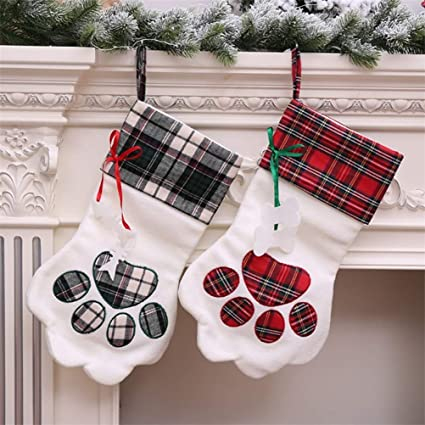 2baa549f906 Image Unavailable. Image not available for. Color  YJBear Personalized  Embroidered Plaid Puppy Dog Paw Christmas Stocking ...