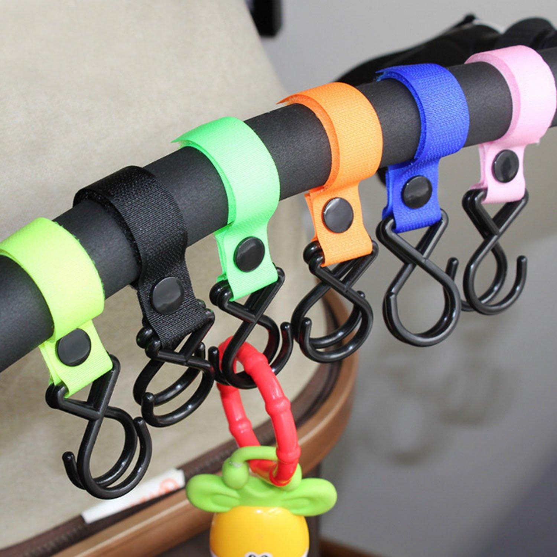 Clip de Cochecito,10pcs Assorted Colors Multi-Purpose Stroller Pram Clips Hooks Hanger for Baby Diaper Bags Purse Groceries Shopping Bags