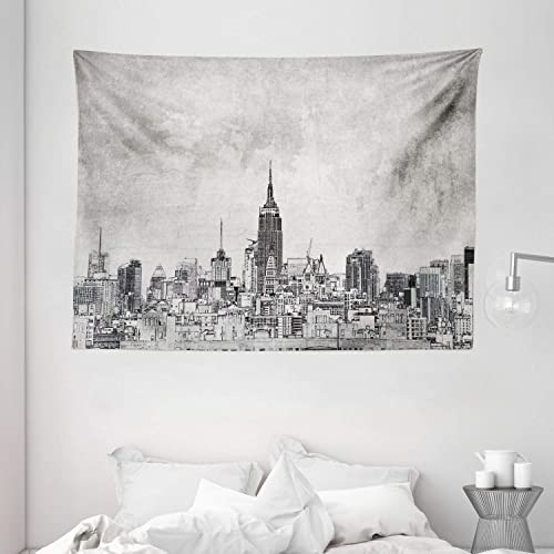 Ambesonne Sketchy Tapestry, Cosmopolitan New York City Skyline with Iconic Skyscrapers and High Buildings Art Design, Wide Wall Hanging for Bedroom Living Room Dorm, 80 X 60 , Grey