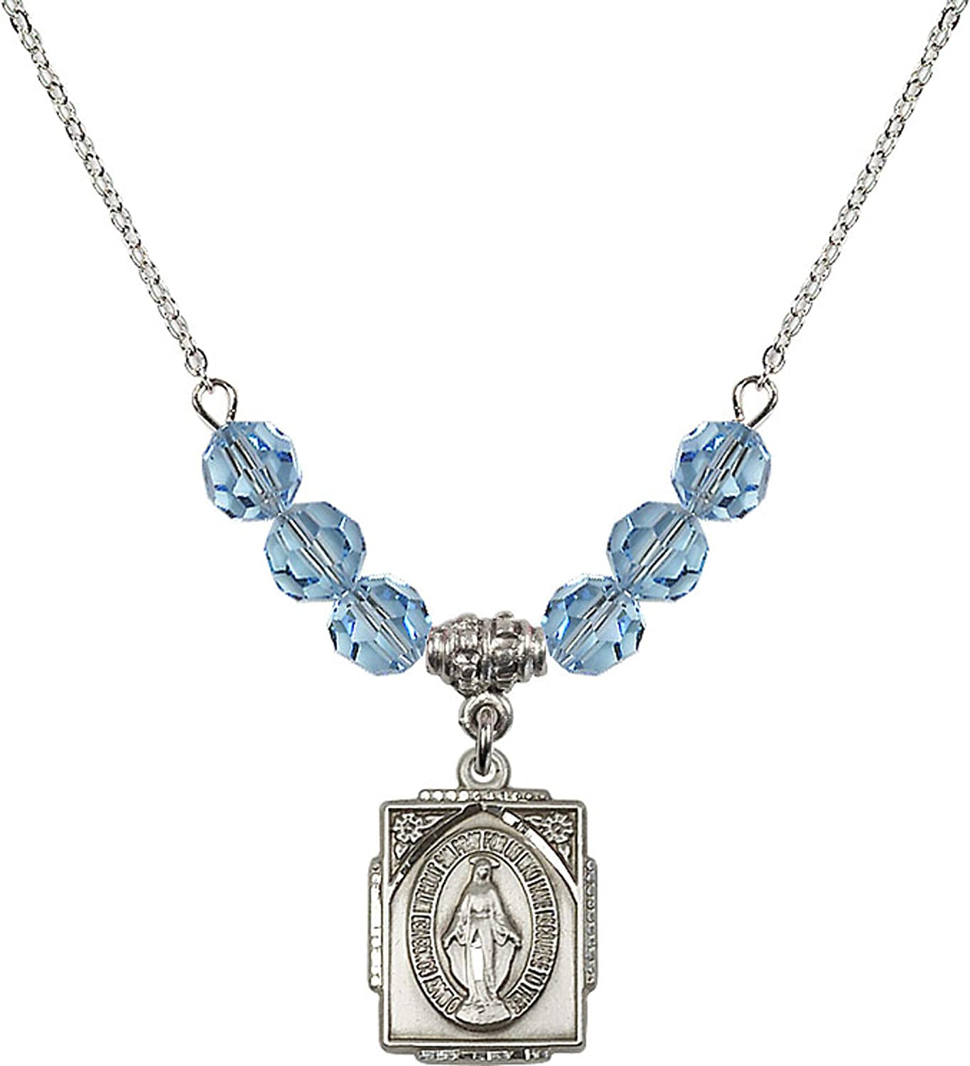 Bonyak Jewelry 18 Inch Rhodium Plated Necklace w// 6mm Blue March Birth Month Stone Beads and Miraculous Charm