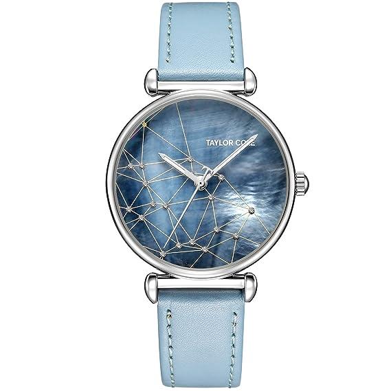 Taylor Cole Reloj Mujer de Moda con Correa de Cuero Analógico Cuarzo Reloj de pulsera Azul