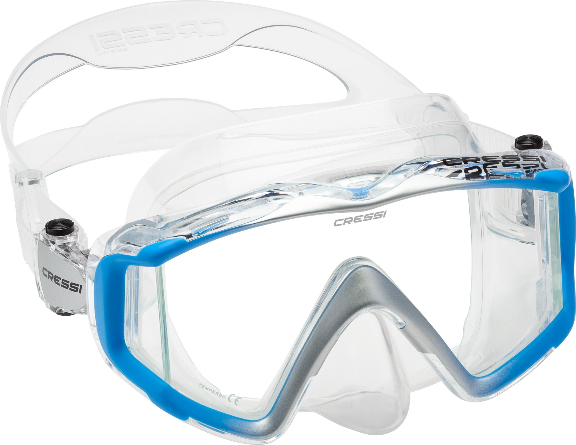 Cressi Liberty Triside Spe Diving Mask, Clear/Blue/Silver
