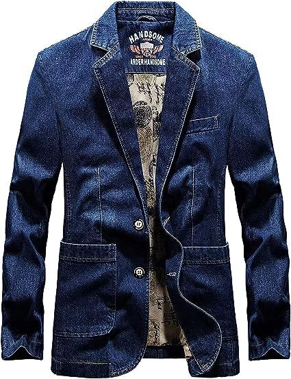 D.IIZOO テーラード デニムジャケット メンズ 春 秋 服 テーラードジャケット 2つボタンアウター メンズ カジュアル ビジネス 大きいサイズ
