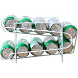 Stylish Soda Beer Can Beverage Dispenser Organizer Space Saving Rack Double Layers Sturdy Iron Shelf White Rack for Refrigerator and Table Top