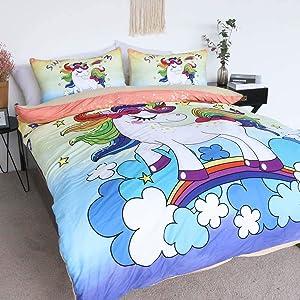 BlessLiving Unicorn Kids Bedding 100% Cotton Super Soft Rainbow Unicorn Bed Set Purple Yellow 3 Pieces Cartoon Unicorn Duvet Cover (Full)