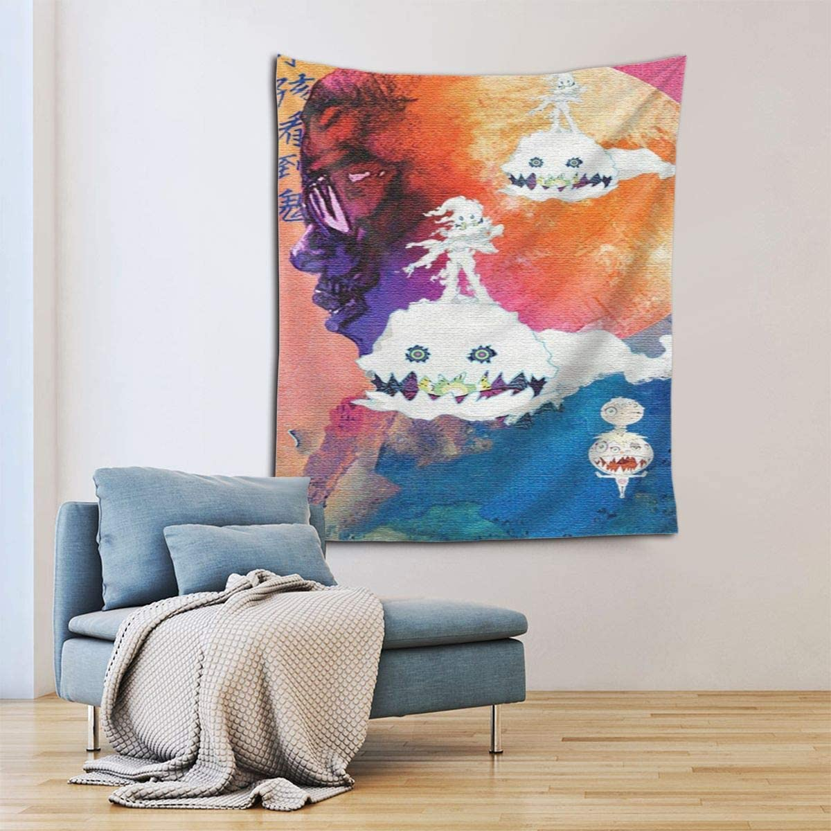 JUDE STEPHENSON K-i-d Cu-d-i Tapestry Wall Hanging Tapestry Decoration Wall Art for Bedroom Dorm Living Room Kitchen Home Decor 60x51 Inches