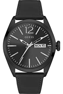 GUESS W0658G4,Mens Dress Sport,Leather Strap,Stainless Steel Case,Three Hands