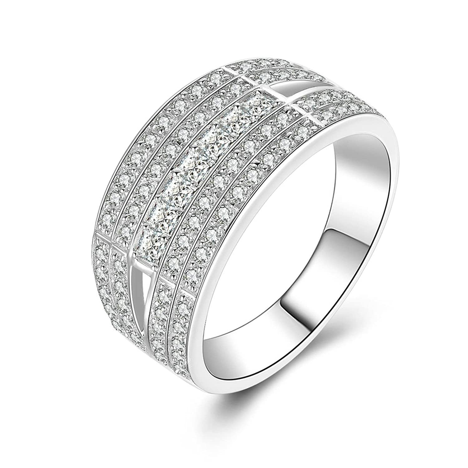 Bishilin Mens Rings Promise Iced Out Ring Round White Cubic Zirconia Size 7