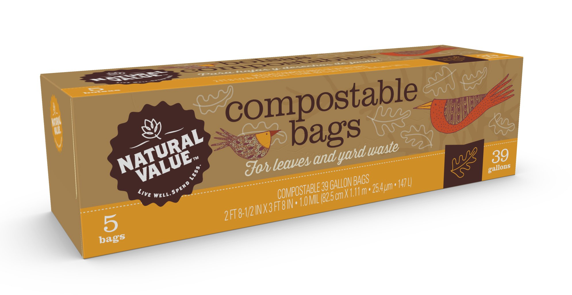 Natural Value 39-gallon Compostable Trash Bags / Case / 60-ct