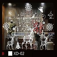 Pour Joyeux Noël, JANLY Noël bonhomme de neige amovible maison vinyle Stickers Wall autocollant décoration
