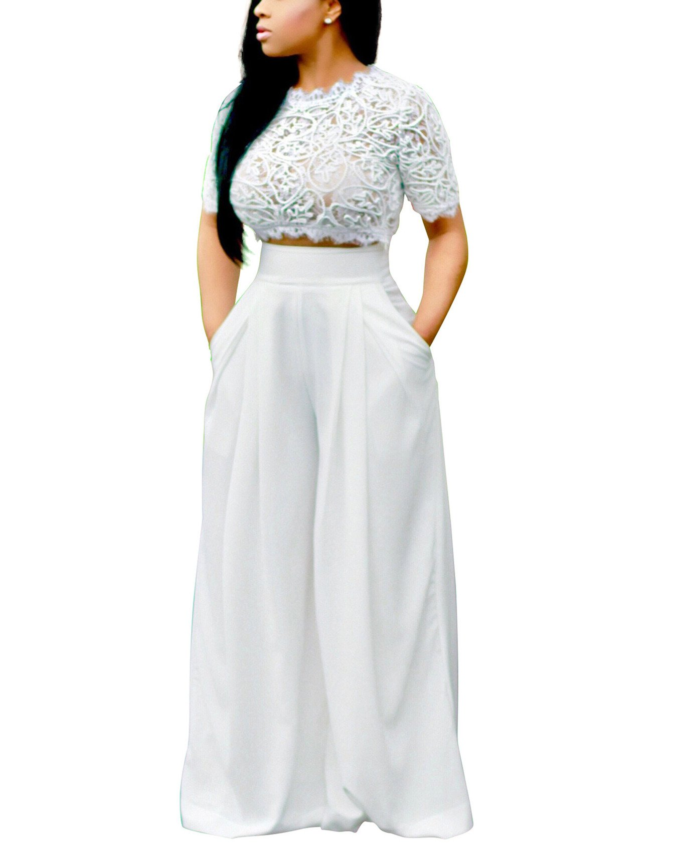YSJERA Women's Sexy Semi Sheer Short Sleeve Lace Crop Top w/High Waist Palazzo Pants 2 Pieces Jumpsuits (M,White)