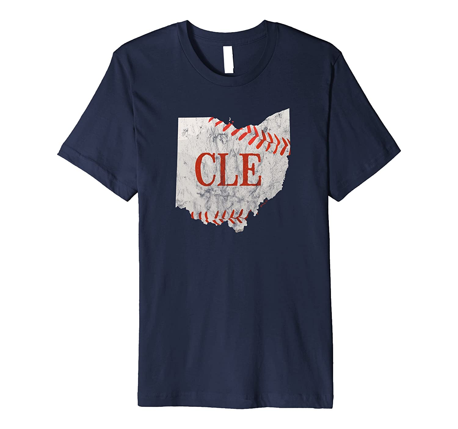 CLE Cleveland Baseball Ohio Outline Distressed T-Shirt-TH