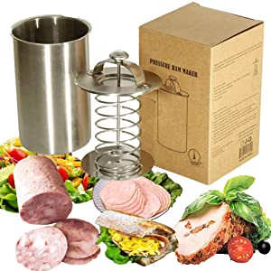 Meao Stainless Steel Ham Sandwich Meat Press Maker for Making Healthy Homemade Deli Meat Come with Thermometer - Kitchen Bacon Meat Pressure Cookers Boiler Pot Pan Stove