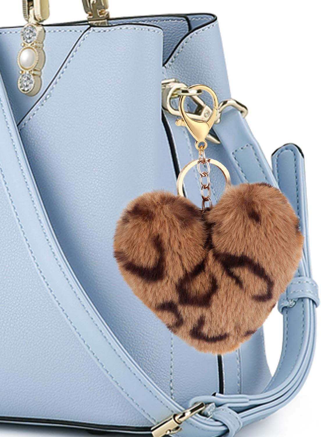 Auranso Pom Pom Keyrings Fluffy Keyring Soft Plush Heart Shape Charm Ring Keyfob Balls Bag Car Key Pendant Keychain Decoration Black