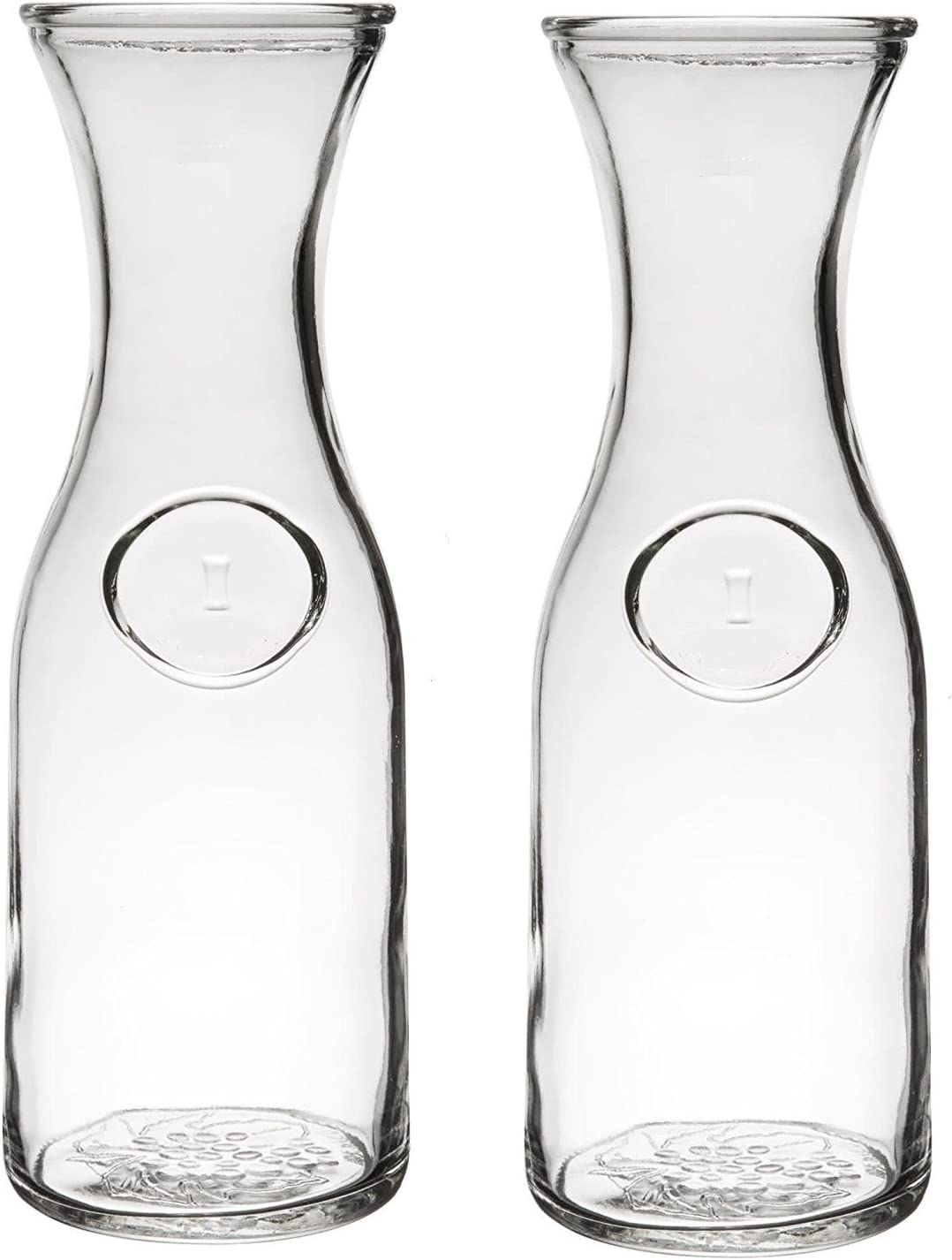Glass Water or Wine Carafe - 1 Liter (2)