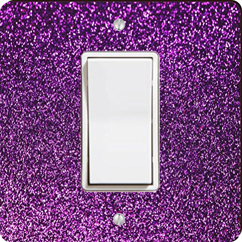 Rikki Knight 45945 Single Rocker Purple Glitter Design (Not Actual Glitter) Design Light Switch Plate by Rikki Knight