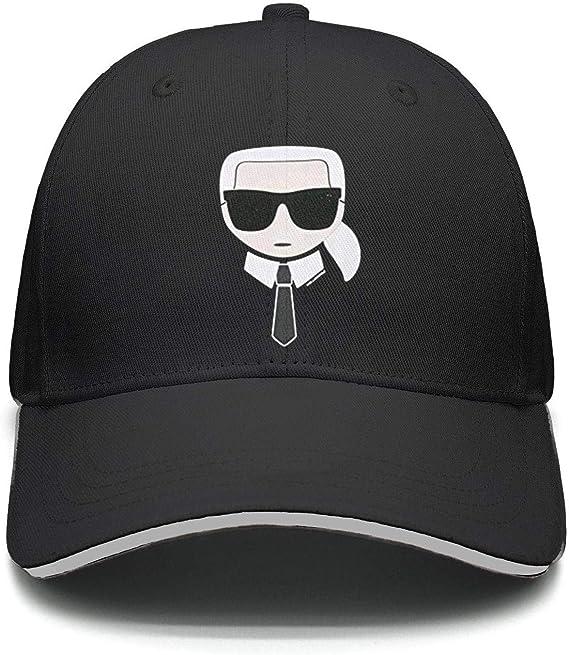 Karl-Lagerfeld-Black- Baseball Cap for Men Women-Classic Cotton Dad Hat Plain Cap Low Profile