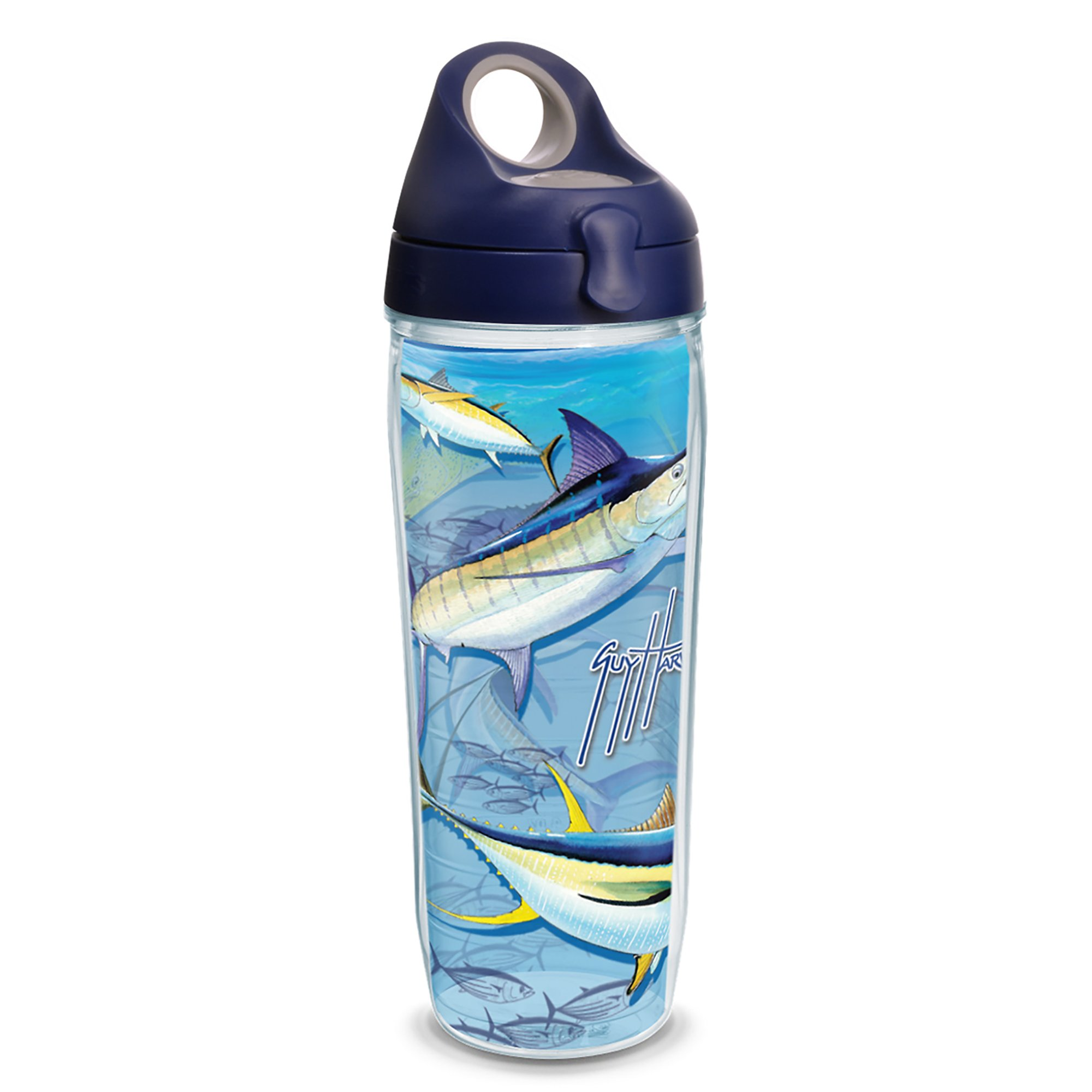 Tervis 1230772 Guy Harvey - Big Game Tumbler with Wrap and Navy with Gray Lid 24oz Water Bottle, Clear